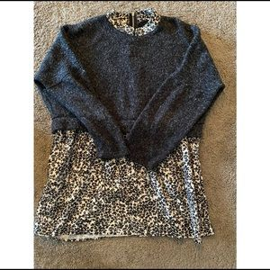 Multilayered thick winter sweater gray white print